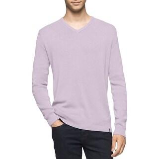 Calvin Klein Mens V-Neck Sweater Ribbed Knit Long Sleeves