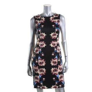 Tahari ASL Womens Petites Floral Print Sheath Wear to Work Dress