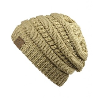 Gravity Threads CC Knit Soft Stretch Beanie Cap, Gold