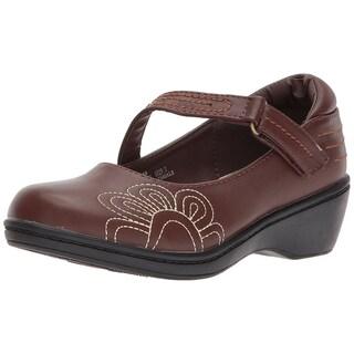 Josmo Kids' Girls Wedge School Uniform Shoe - 12 medium us little kid (Option: Brown)