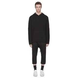Helmut Lang Mens Waffle Stitch Combo Sweatshirt Hoodie X-Large XL Black H05HM702
