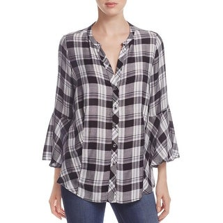 Status by Chenault Womens Button-Down Top Plaid Bell Sleeves