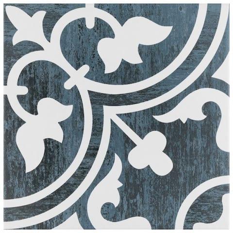 "SomerTile Cassis Arte Black Night 9-3/4"" x 9-3/4"" Porcelain Floor and Wall Tile - Case 16 tiles"
