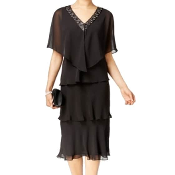 SLNY NEW Black Women's Size 12 Chiffon Embellished Tiered Dress