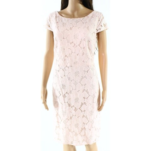 Tommy Hilfiger Pink Womens Size 16 Floral Lace Overlay Sheath Dress
