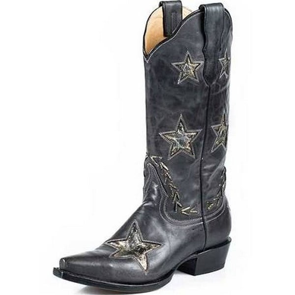 Stetson Western Boots Womens Star Black Gold