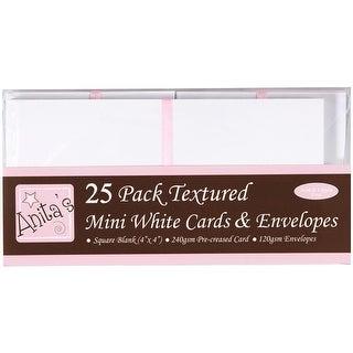 """Anita's Mini Textured Cards W/Envelopes 4""""X4"""" 25/Pkg-White - White"""