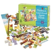 """Set of 6 Green and Blue Religious Themed Psalm 23 Jigsaw Puzzle 11"""" - N/A"""