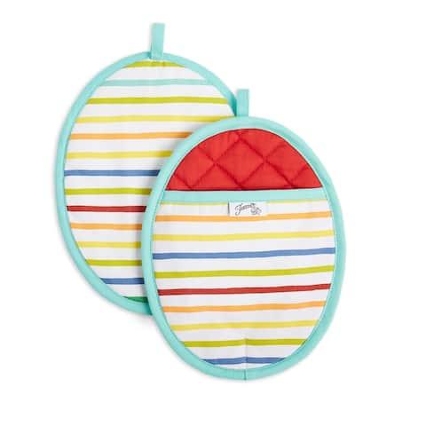 "Fiesta Tropical Stripe Pot Holder Set, 2 Piece - 8""x10"""