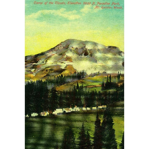 Camp of the Clouds, Paradise Park, Rainier (Art Print - Multiple Sizes  Available) - 9 x 12 Art Print