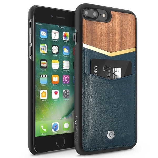 CobblePro Dark Blue/ Brown Genuine Leather Bamboo wood with Wallet Flap Pouch For Apple iPhone 7 Plus