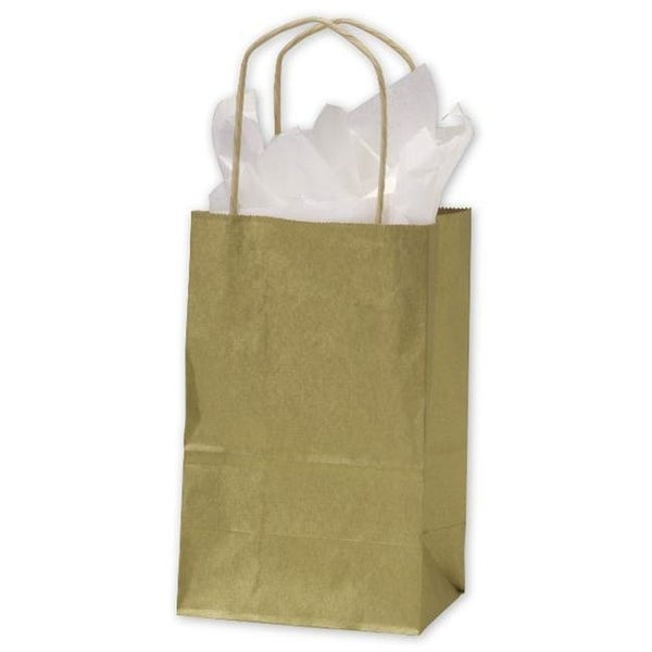 Shop Bags   Bows by Deluxe Gold Metallic on Kraft Shoppers - Case of 250 - Free  Shipping Today - Overstock.com - 25319219 72c7b3dff9b5
