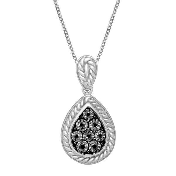 Teardrop Pendant with Black Diamonds in Sterling Silver
