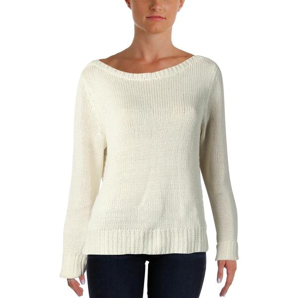 Lauren Ralph Lauren Womens Pullover Sweater Side Slit Ribbed Trim