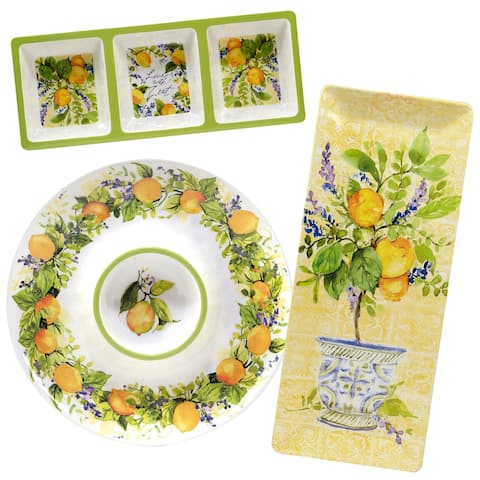 Certified International Lemon Zest 3-piece Melamine Hostess Serving Set