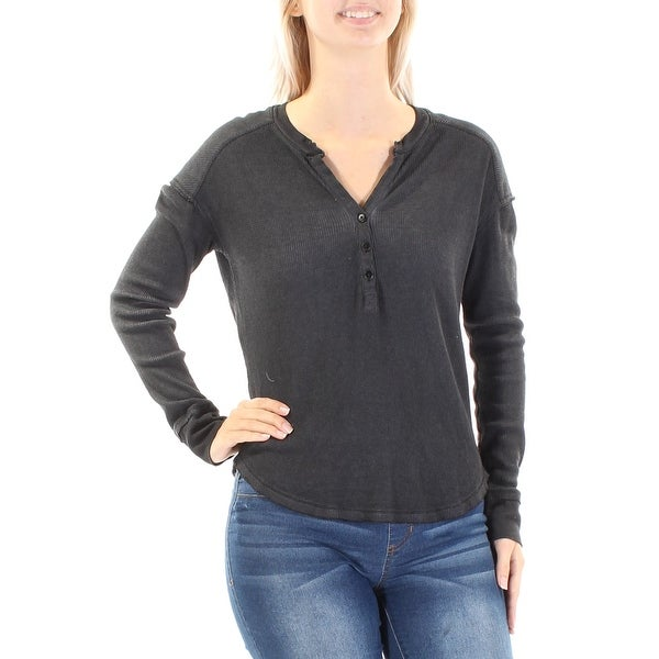569fb3d27eeaf9 Shop SANCTUARY Womens Gray Textured Long Sleeve V Neck Hi-Lo Top Size  M -  Free Shipping On Orders Over  45 - Overstock.com - 21349044