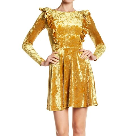 Love...ady Womens Small Velvet Ruffle-Trim Sheath Dress