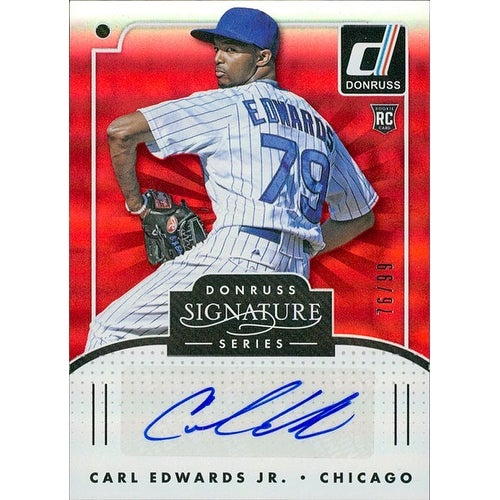 Signed Edwards Carl Jr Chicago Cubs 2016 Donruss Baseball Card 7699 Autographed