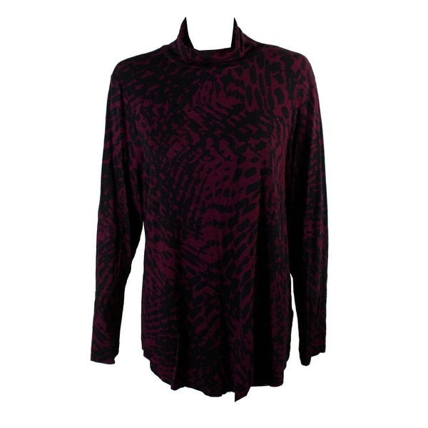 Shop Jm Collection Maroon Combo Animal-Print Turtleneck Top L - Free  Shipping On Orders Over  45 - Overstock.com - 24177840 59a864d61