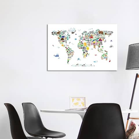 """iCanvas """"Animal Map of The World"""" by Michael Tompsett Canvas Print"""