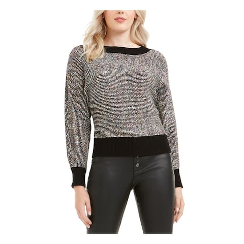 BAR III Womens Black Heather Long Sleeve Crew Neck Sweater Size L