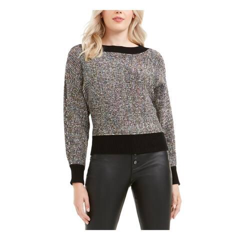 BAR III Womens Black Heather Long Sleeve Crew Neck Sweater Size XS