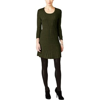 NY Collection Womens Petites Sweaterdress 3/4 Sleeve A-Line
