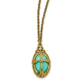 14k Gold IP Crystal & Epoxy Turquoise Colored Bead Cross Necklace - 20in