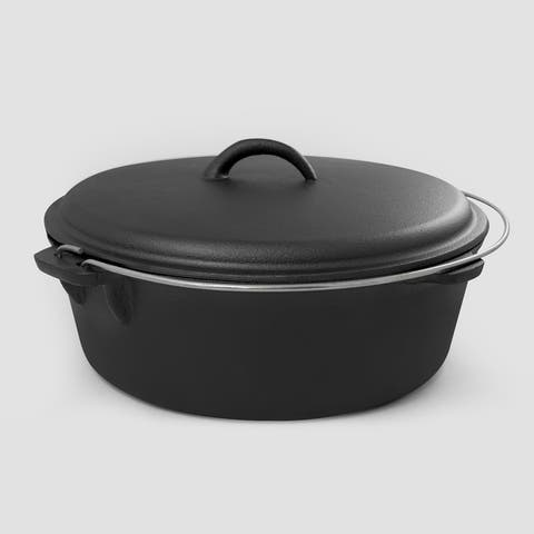 CookPro 8.25 Qt. Camp Dutch Oven with Handle & Pre-Seasoned
