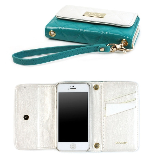 JAVOedge Vintage Quilted Wallet Case for the Apple iPhone 5s, iPhone 5 (White/Turquoise) - white and turquoise
