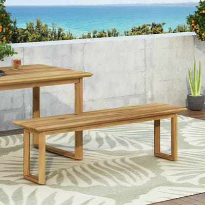 Nibley Outdoor Acacia Wood Outdoor Dining Bench by Christopher Knight Home