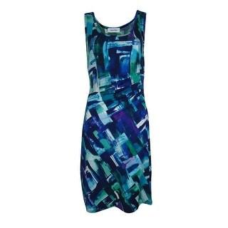 Calvin Klein Women's Abstract Print Seamed Jersey Dress