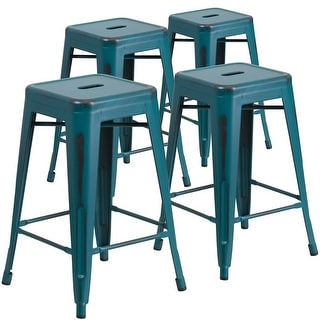 "4 Pack 24"" High Backless Distressed Metal Indoor-Outdoor Counter Height Stool"