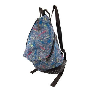 Denim Splatter Paint Rugged Studded Backpack
