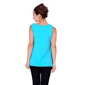 Simply Ravishing Women's Solid Round Neck Sleeveless High Low Asymmetrical Hem Tunic Top - Thumbnail 1