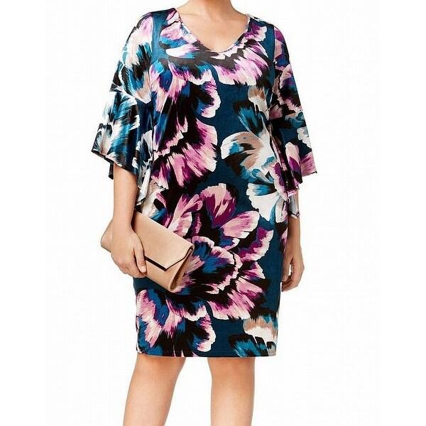NY Collection Blue Women's Size 1X Plus Velvet Floral Shift Dress