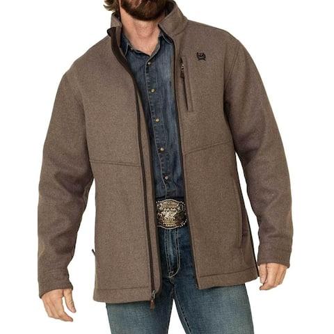 Cinch Western Jacket Mens 3/4 Length Wool Zipper Closure - Brown