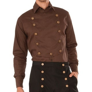 Steampunk Brown Long Sleeve Adult Costume Shirt