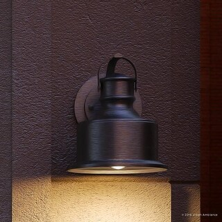 """Luxury Industrial Chic Outdoor Wall Light, 10""""H x 8.5""""W, with Modern Farmhouse Style, Aged Pewter Finish by Urban Ambiance"""