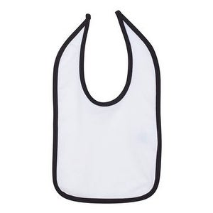 Rabbit Skins Infant Contrast Trim Premium Jersey Bib - White/ Black - One Size
