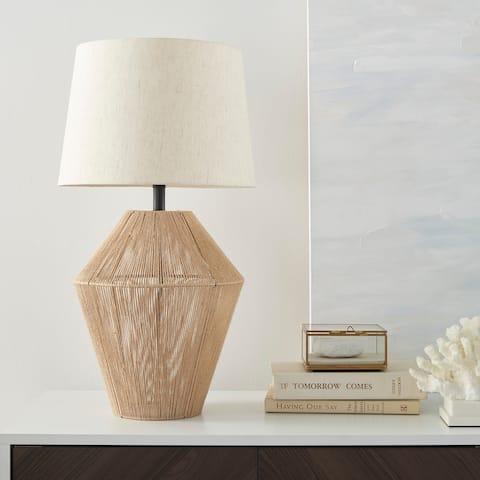 "Nourison 23"" Tan Natural Woven Jute Table Lamp"