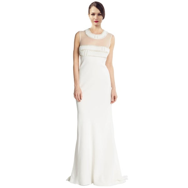 Carmen Marc Valvo Beaded Illusion Bodice Long Bridal Evening Gown Dress