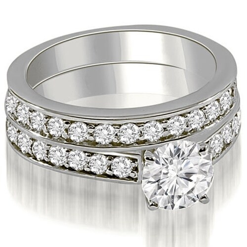 2.15 cttw. 14K White Gold Round Cut Diamond Bridal Set
