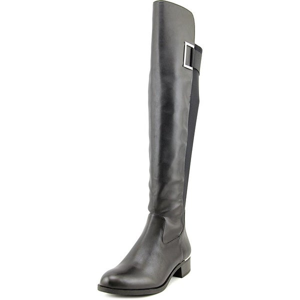 Calvin Klein Cylan Wide Calf Women Round Toe Leather Black Over the Knee Boot