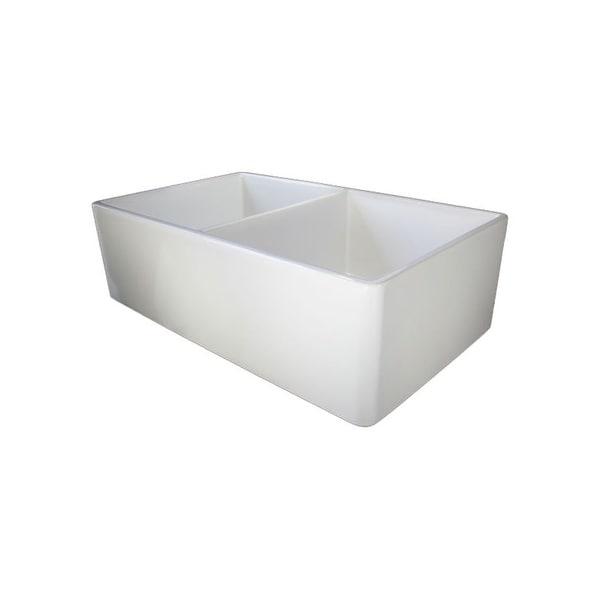 Alfi Brand Ab538 32 Inch Smooth Double Bowl Fireclay Farmhouse Kitchen Sink