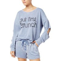 Material Girl Womens Juniors Sweatshirt Cutout Graphic - L