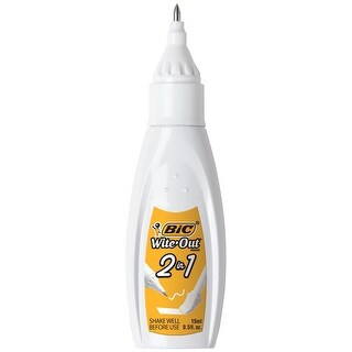 BIC Wite-Out 2 in 1 Correction Fluid, 15 ml, White