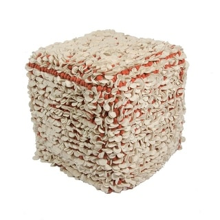 "18"" Red and Ivory Tasha Wool Decorative Pouf Ottoman"