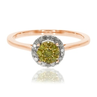 Brand New 0.25 Ctw Round Briliant Cut Yellow Color Diamond With Natural Diamond Engagement Ring - White I-J