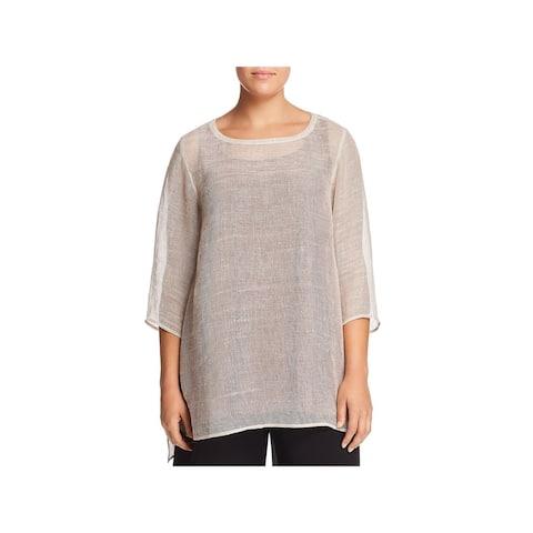 Eileen Fisher Womens Plus Tunic Top Linen Sheer - 1X
